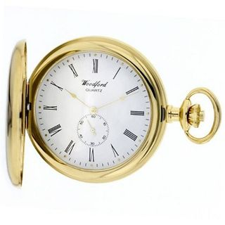 Woodford Gold Plated Full Hunter Quartz Analogue 1228 with Chain and Separate Second Hand Dial (Suitable for Engraving)