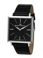 Yonger & Bresson HCC 1466/01 City Stainless Steel Square Black Crocodile Print Leather