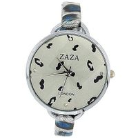 uZAZA London Zaza London Black & Blue Leopard Design Silver Dial Ladies Fashion LLB872