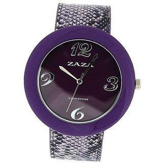 Zaza London Crocodile Effect Purple Pu Strap & Dial Ladies Fashion LLB855