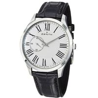 Zenith 032010681.11C Elite Ultra Thin Black Leather Strap