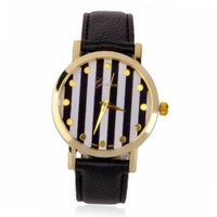 Black and White Striped Round Face Black Faux Leather Band Quartz