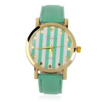 Mint Green Striped Round Face Faux Leather Band Quartz