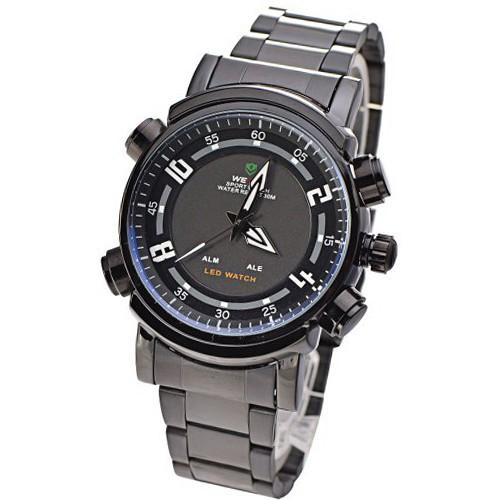 Мужские часы weide sport  мужские спортивные часы с двумя часовыми зонами, первая показывает время как обычные часы стрелками, вторая при нажатии на кнопку высвечивает время в led режиме также имеется будильник.